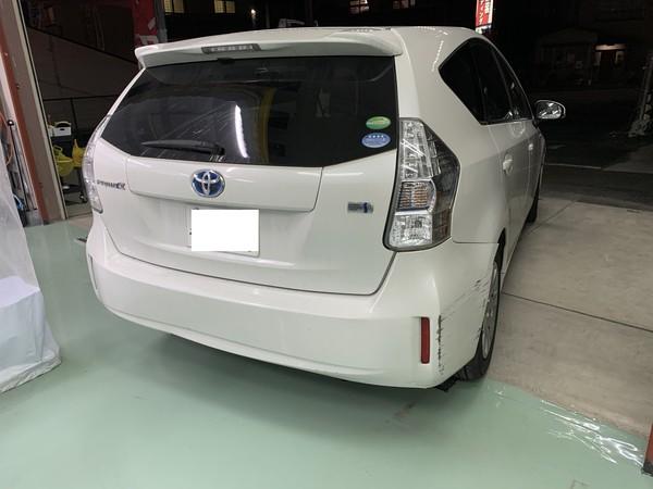 トヨタ プリウスα Rバンパー交換 中古部品持ち込み 横浜市