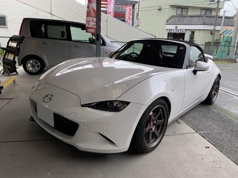Mazda ロードスター ボンネット、フロントバンパー交換 保険修理 相模原市