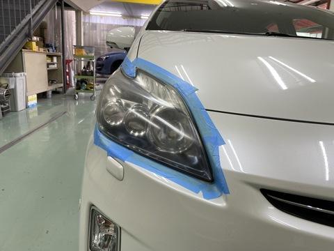 トヨタ プリウス ヘッドライトコーティング施工